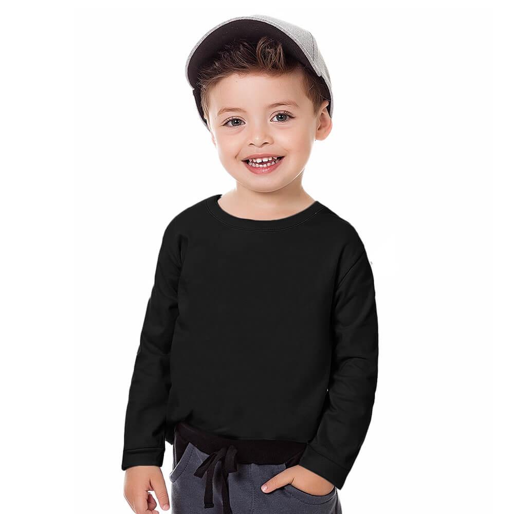 Camiseta Bebê Menino Manga Longa Básica Preta