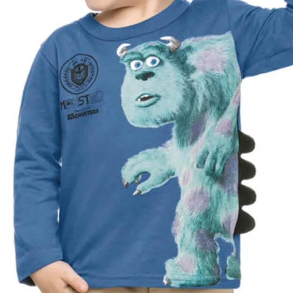 Camiseta Bebê Menino Manga Longa Monstros SA