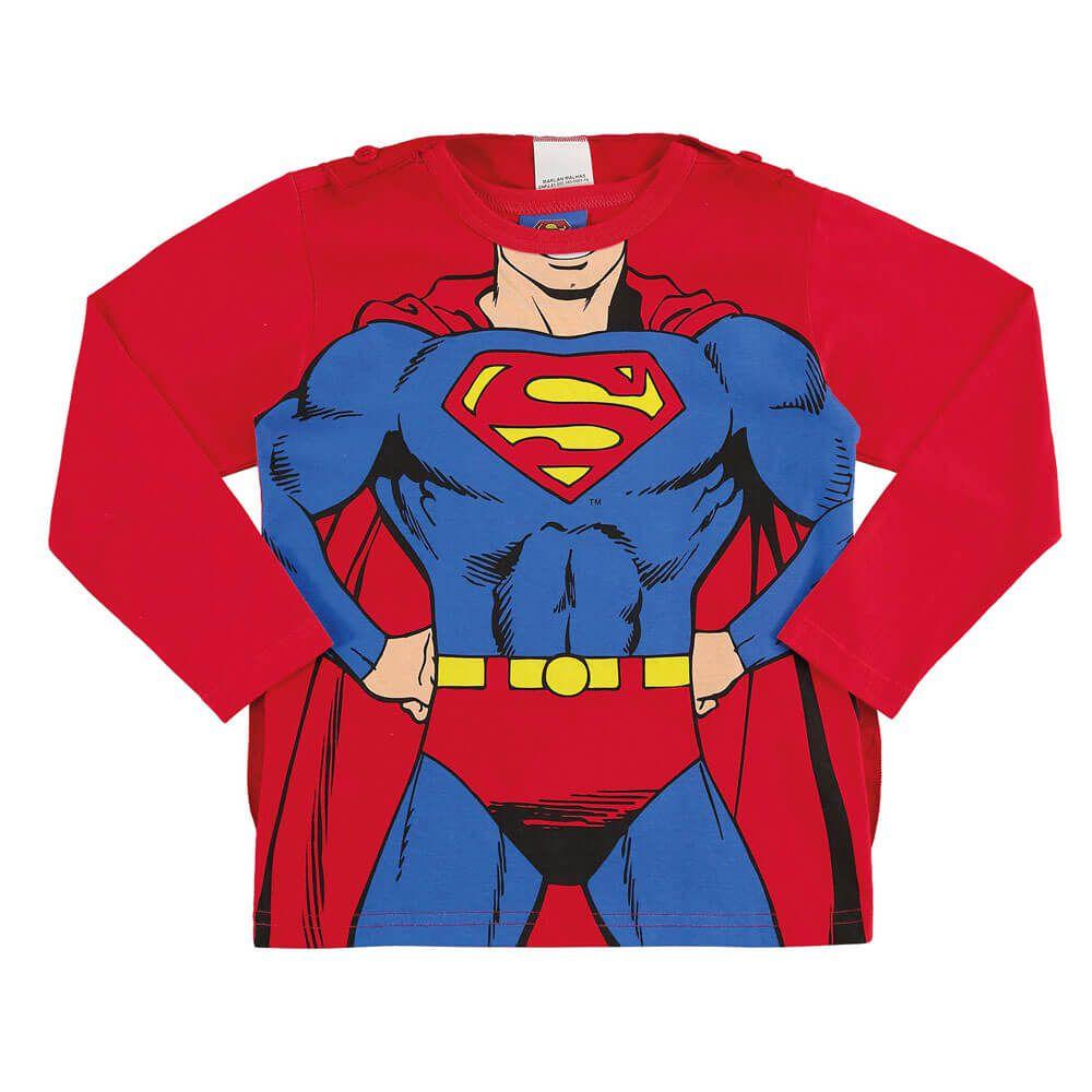 Camiseta Bebê Menino Manga Longa Super Homem com Capa