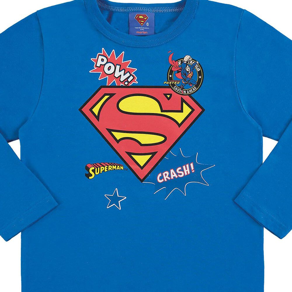 Camiseta Bebê Menino Manga Longa Super Homem com Máscara