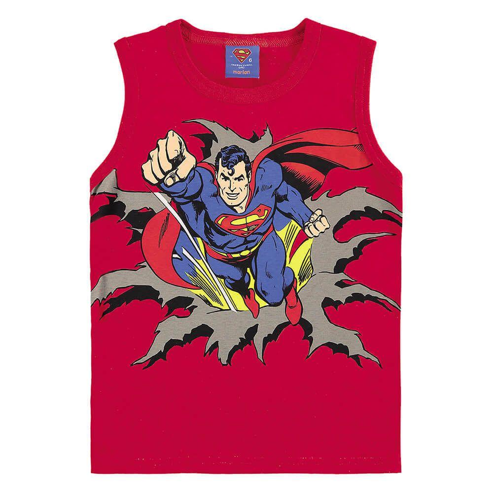 Camiseta Bebe Menino Regata Super Homem com Máscara