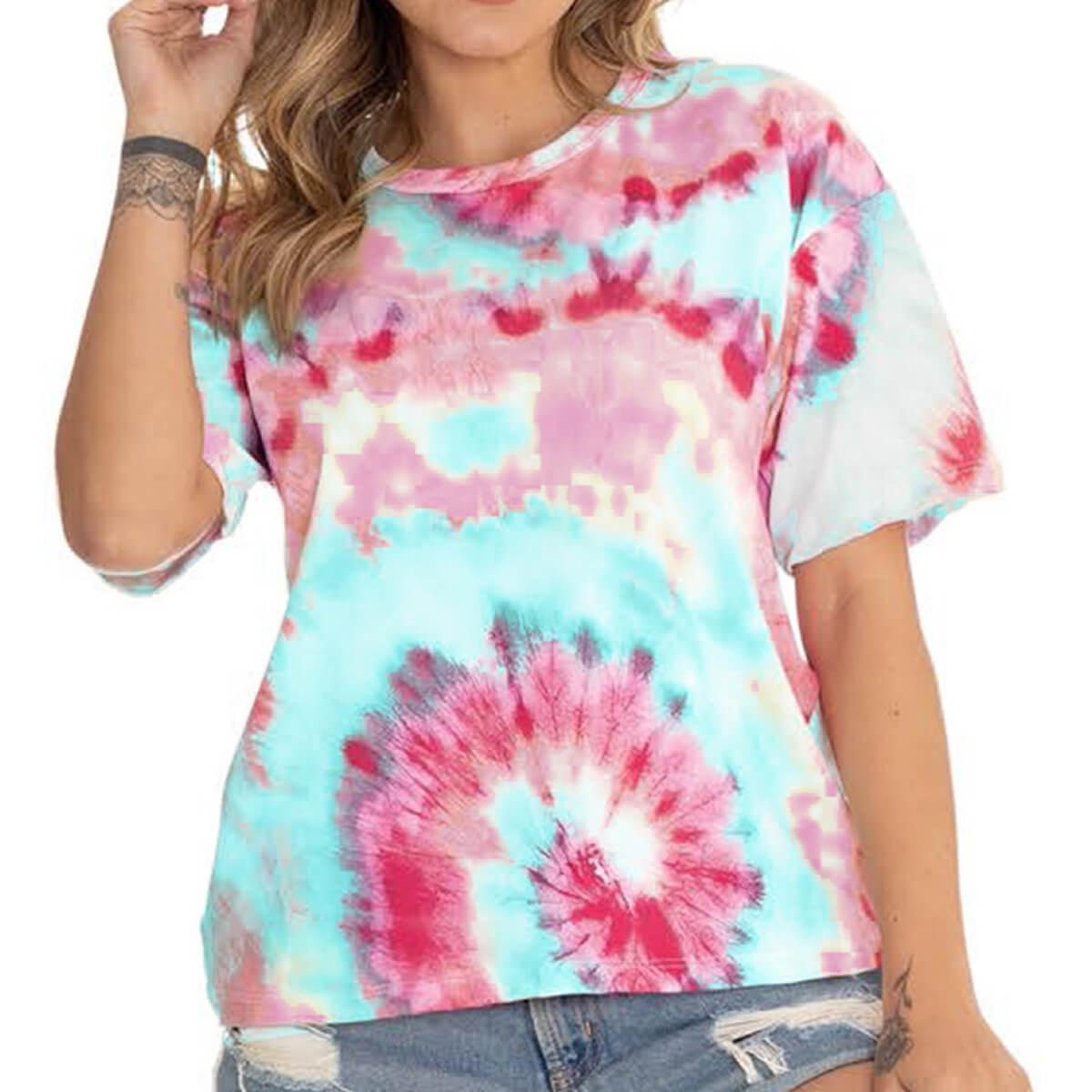 Camiseta Feminina Malha Tie Dye Blue