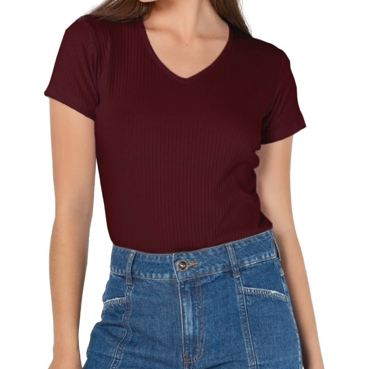 Camiseta Feminina Ribana Premium Vinho