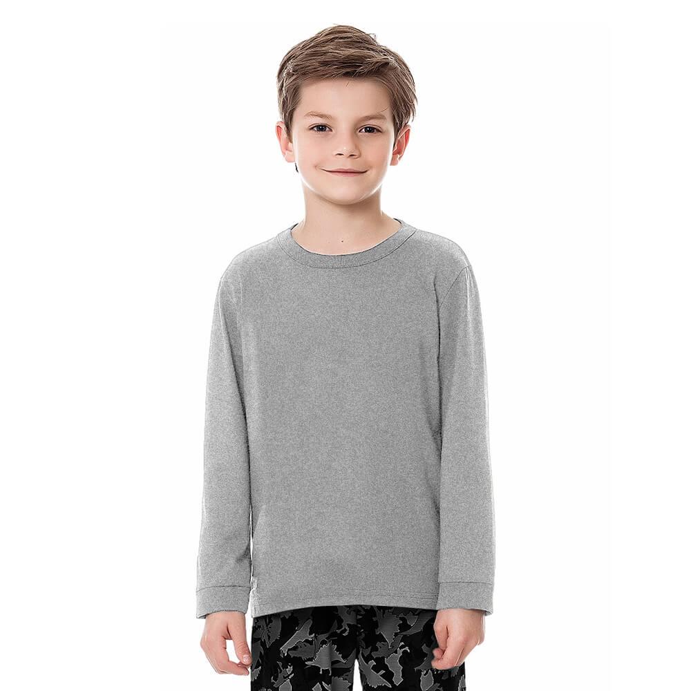 Camiseta Infantil Juvenil Menino Manga Longa Básica Cinza