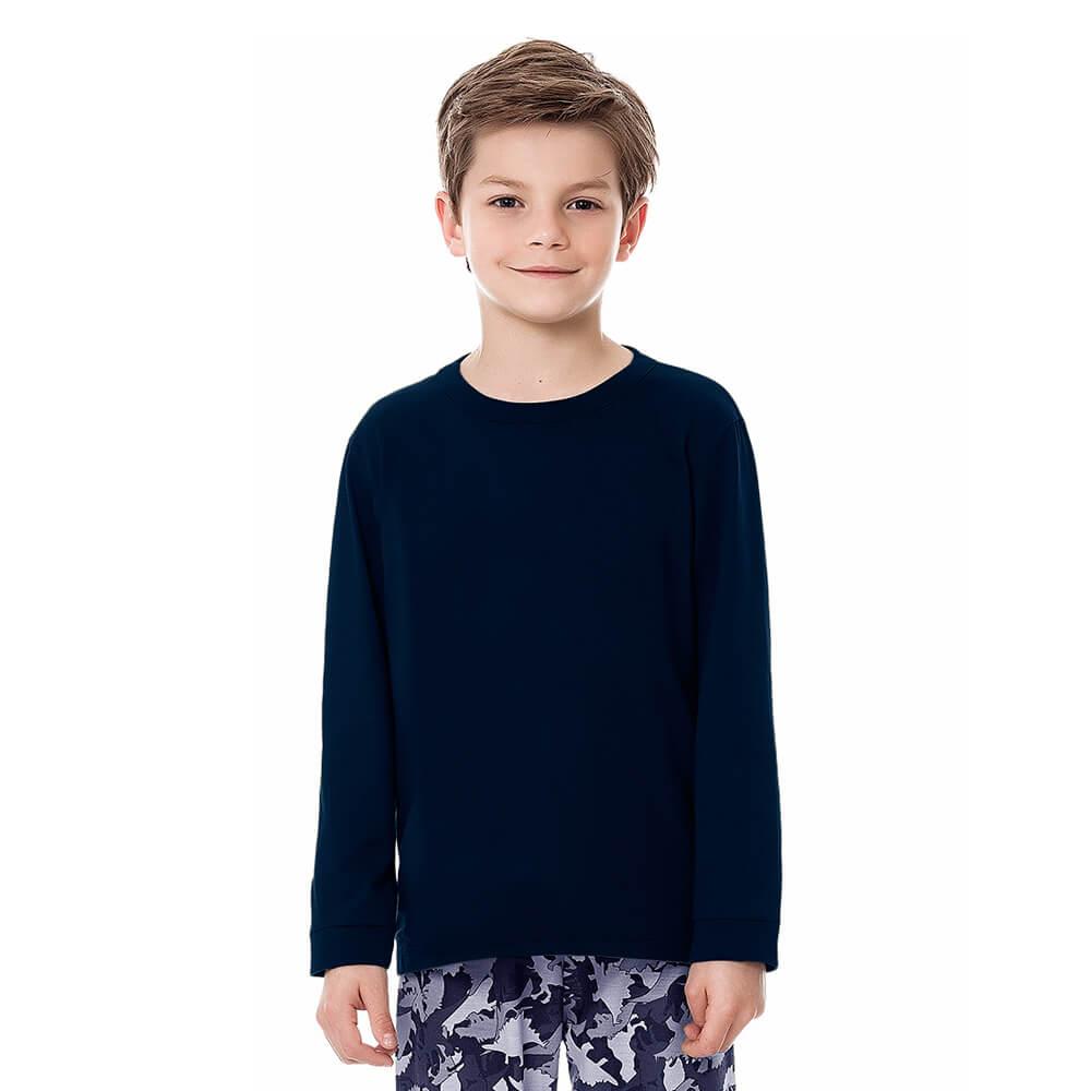 Camiseta Infantil Juvenil Menino Manga Longa Básica Marinho