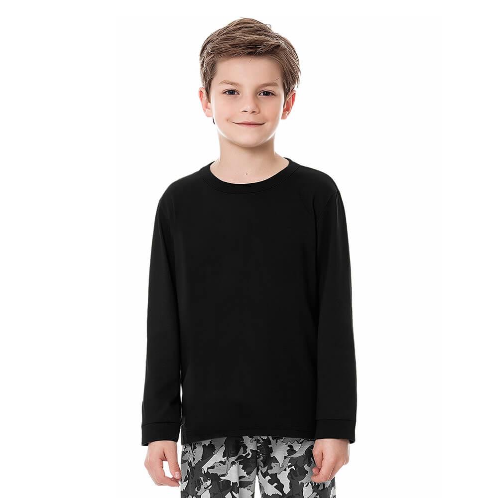 Camiseta Infantil Juvenil Menino Manga Longa Básica Preta