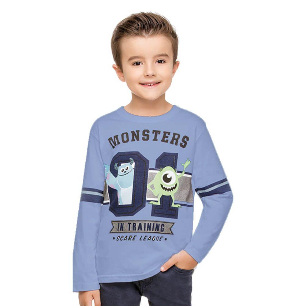 Camiseta Infantil Manga Longa Monstros S.A. Azul