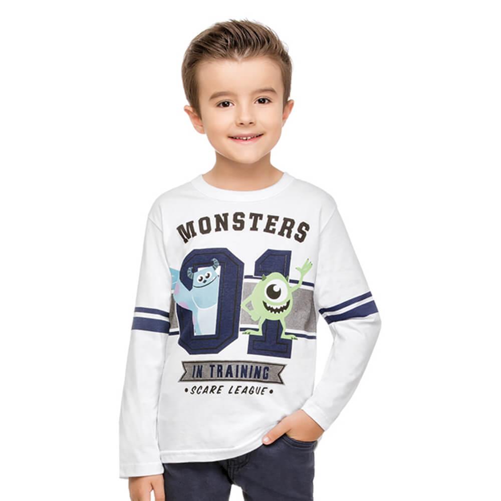 Camiseta Infantil Manga Longa Monstros S.A. Branca