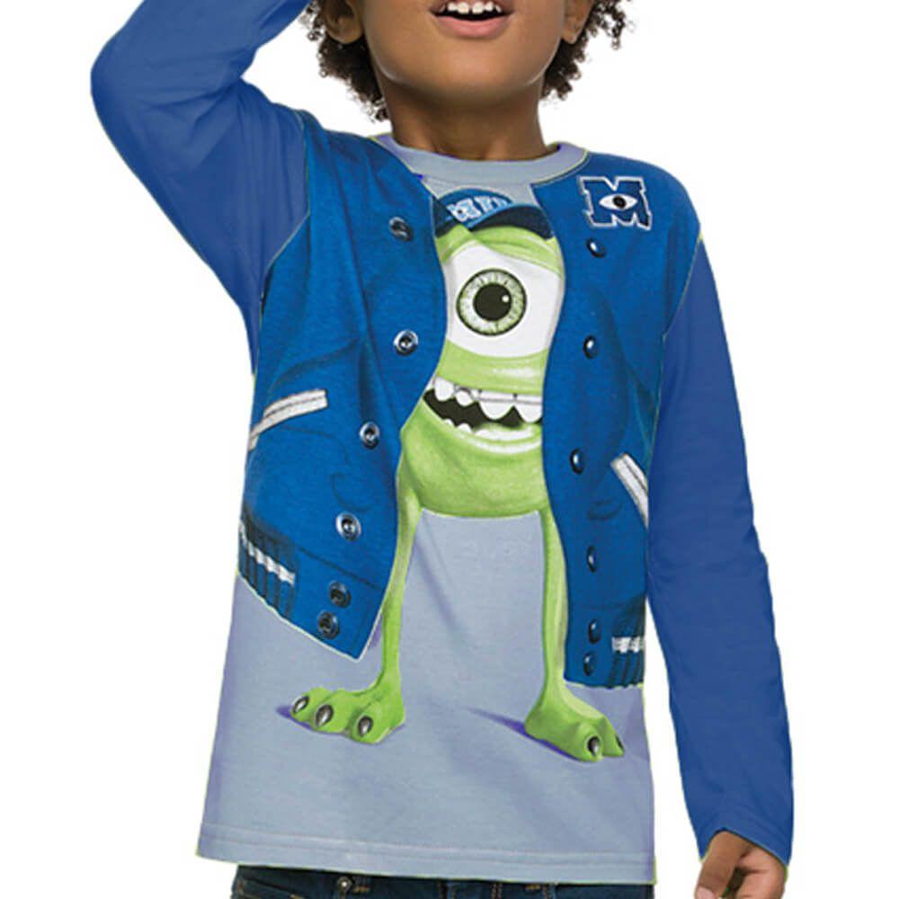Camiseta Infantil Manga Longa Monstros S.A. Universidade Azul