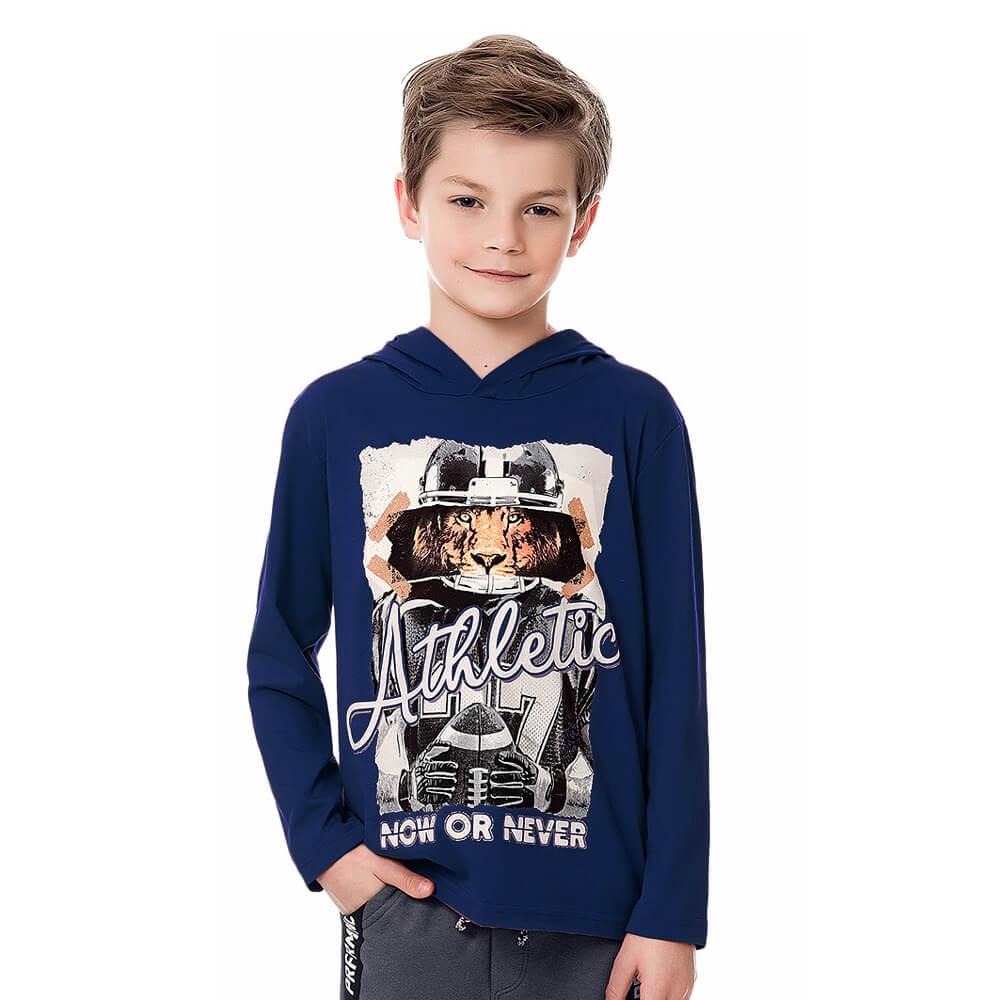 Camiseta Infantil Menino Manga Longa Athletic Marinho