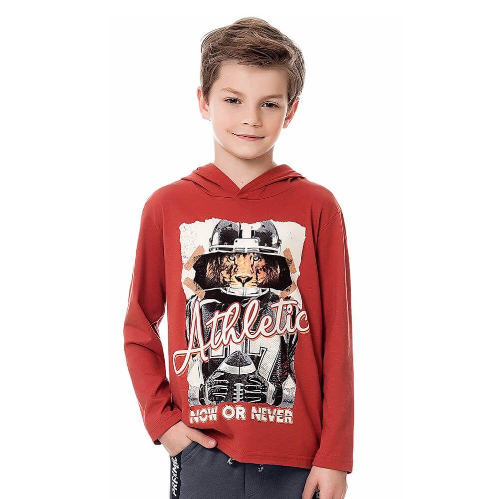 Camiseta Infantil Menino Manga Longa Athletic Terracota