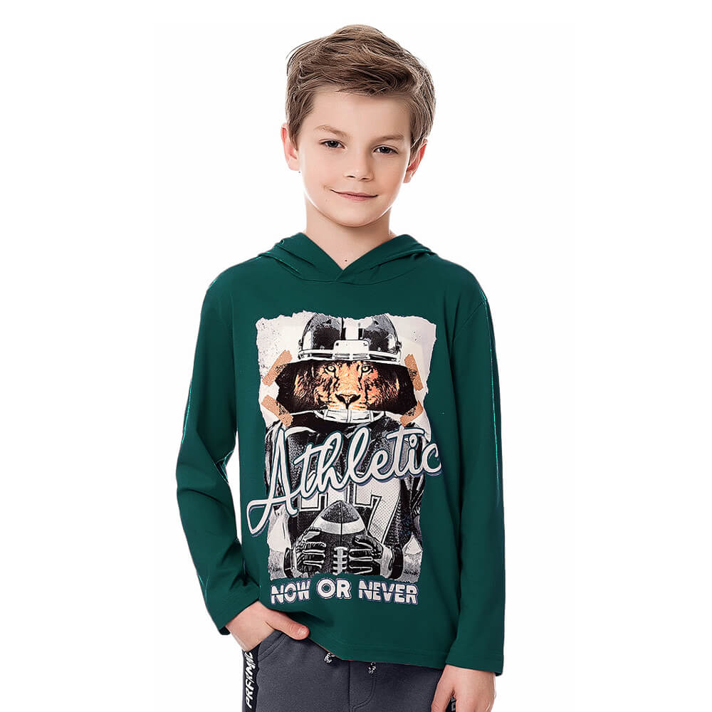 Camiseta Infantil Menino Manga Longa Athletic Verde