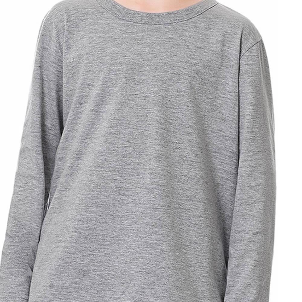 Camiseta Infantil Menino Manga Longa Básica Cinza