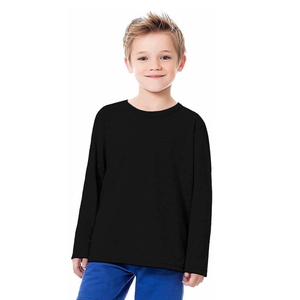Camiseta Infantil Menino Manga Longa Básica Preta
