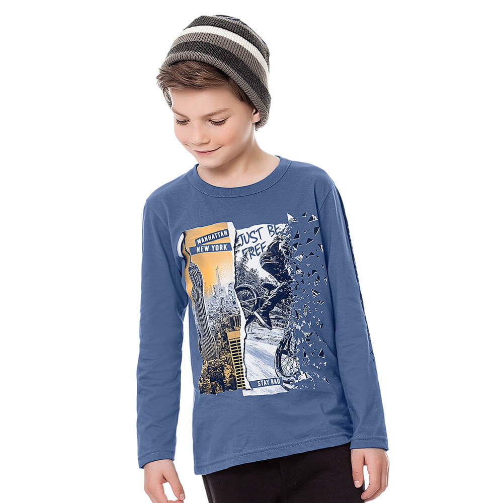 Camiseta Infantil Menino Manga Longa New York Azul