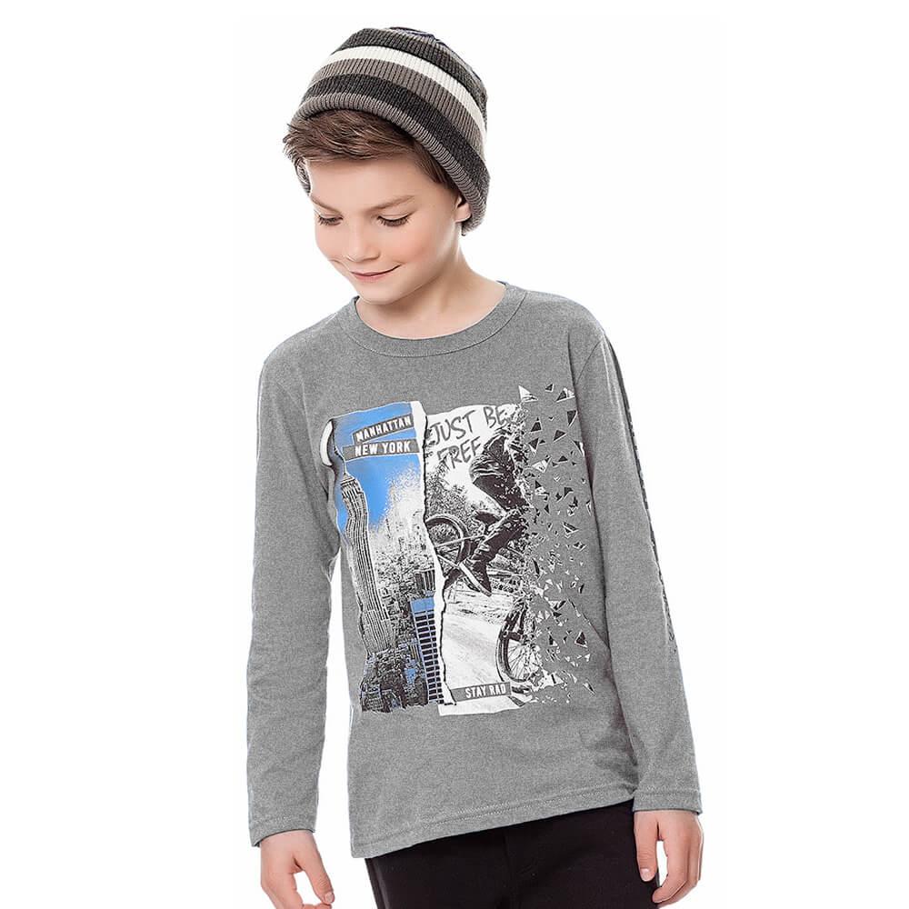 Camiseta Infantil Menino Manga Longa New York Cinza