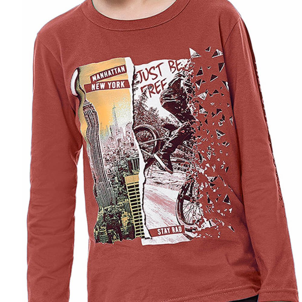 Camiseta Infantil Menino Manga Longa New York Terracota