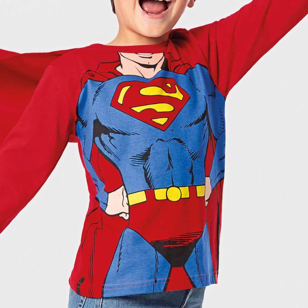 Camiseta Infantil Menino Manga Longa Super Homem com Capa
