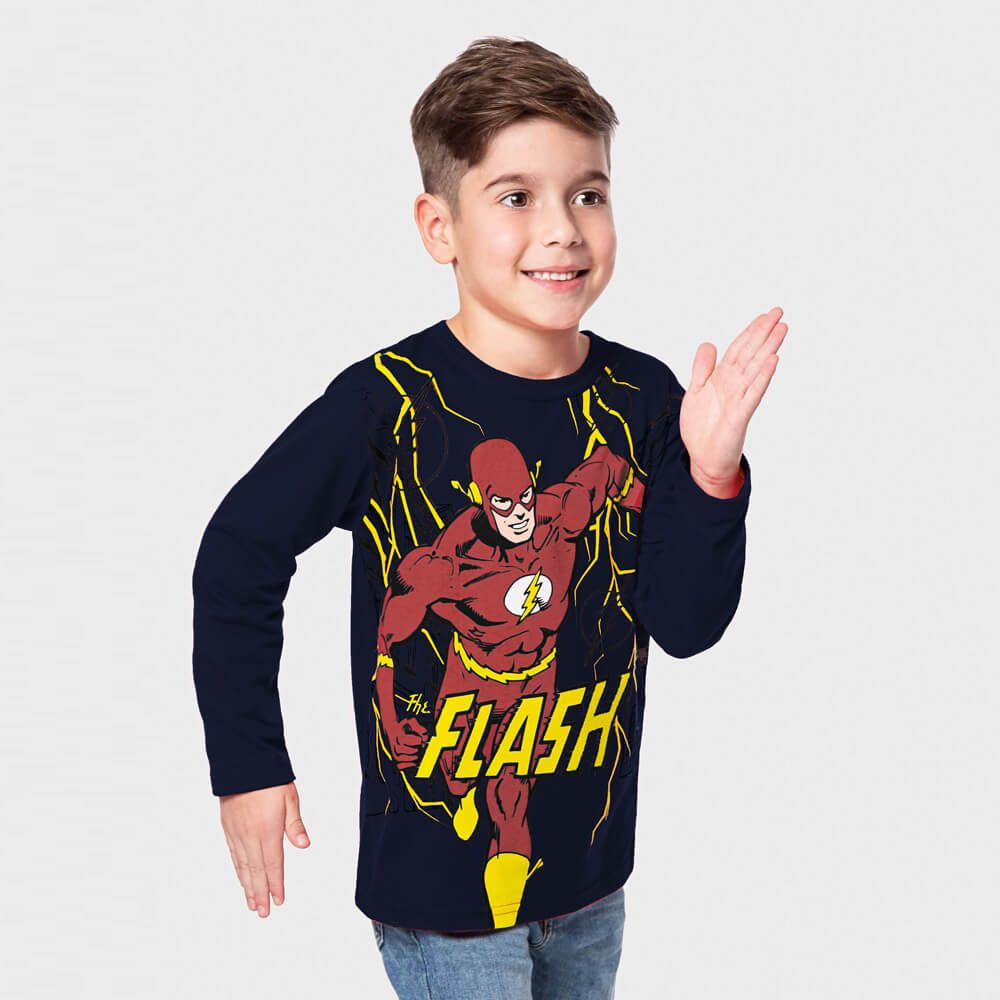Camiseta Infantil Menino Manga Longa Super The Flash Marinho