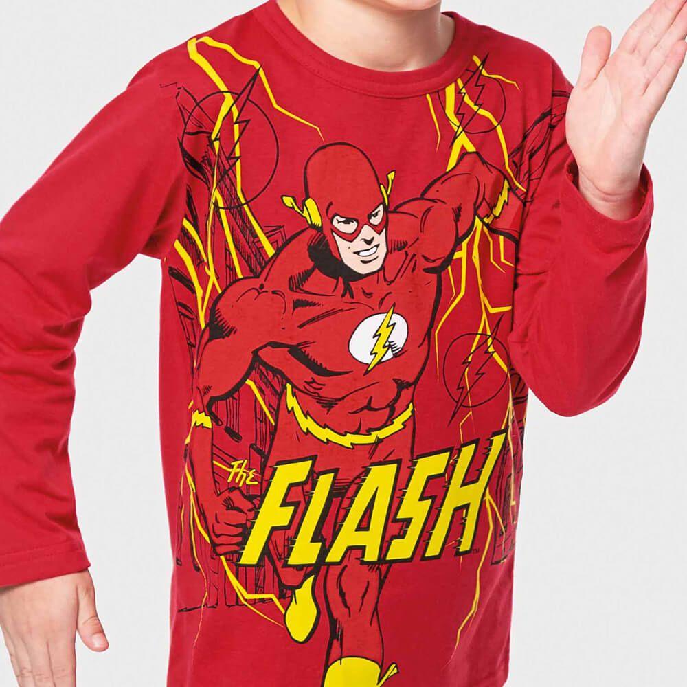 Camiseta Infantil Menino Manga Longa Super The Flash Vermelha