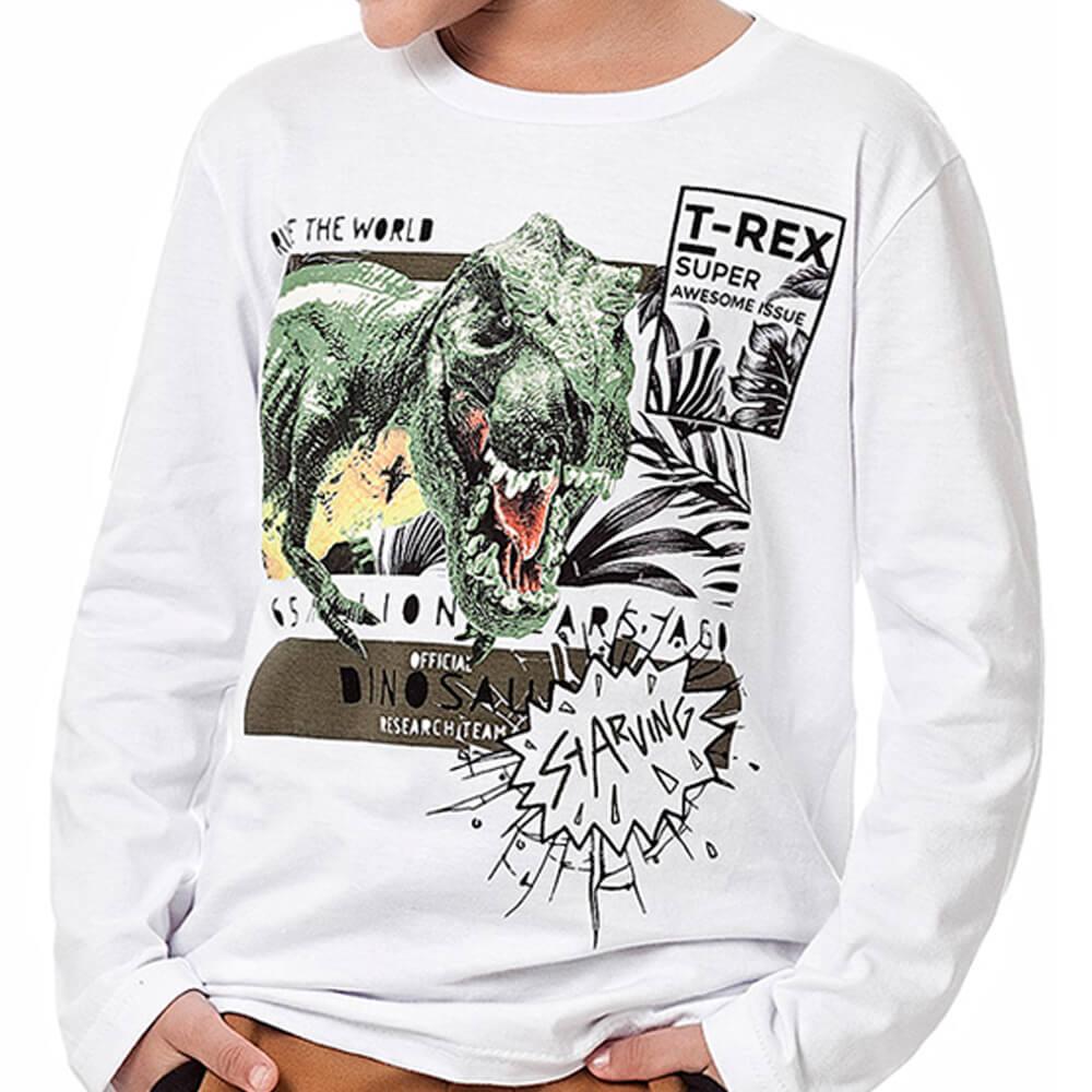 Camiseta Infantil Menino Manga Longa T Rex Branca