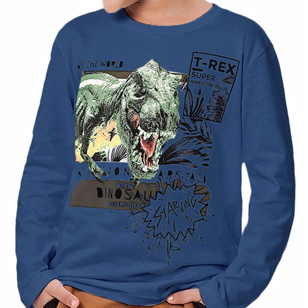 Camiseta Infantil Menino Manga Longa T Rex Marinho