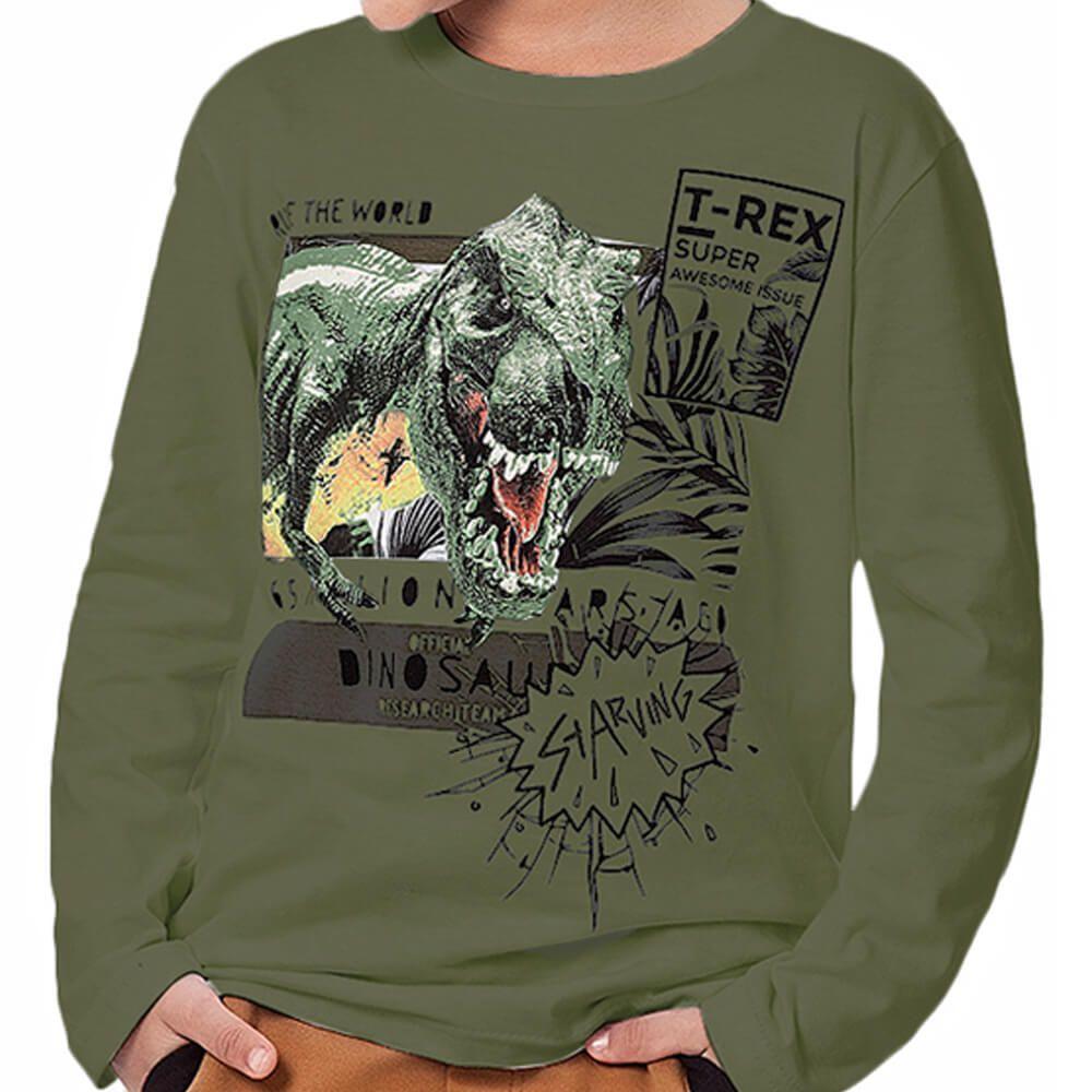 Camiseta Infantil Menino Manga Longa T Rex Verde