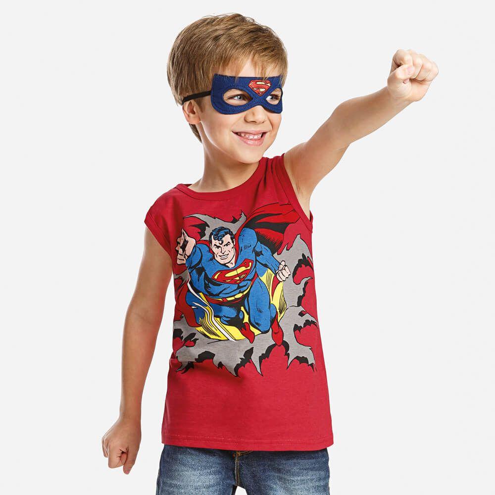 Regata Infantil Menino Super Homem com Máscara