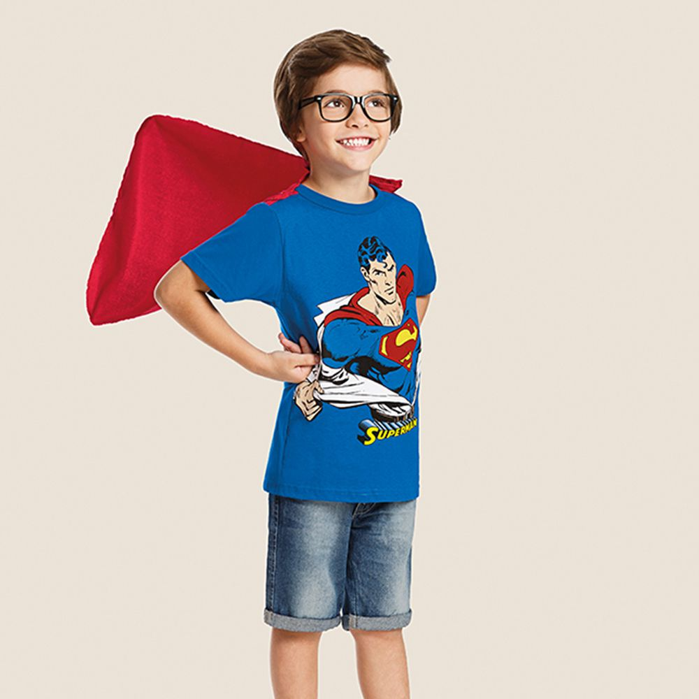 Camiseta Infantil Super Homem C/ Capa