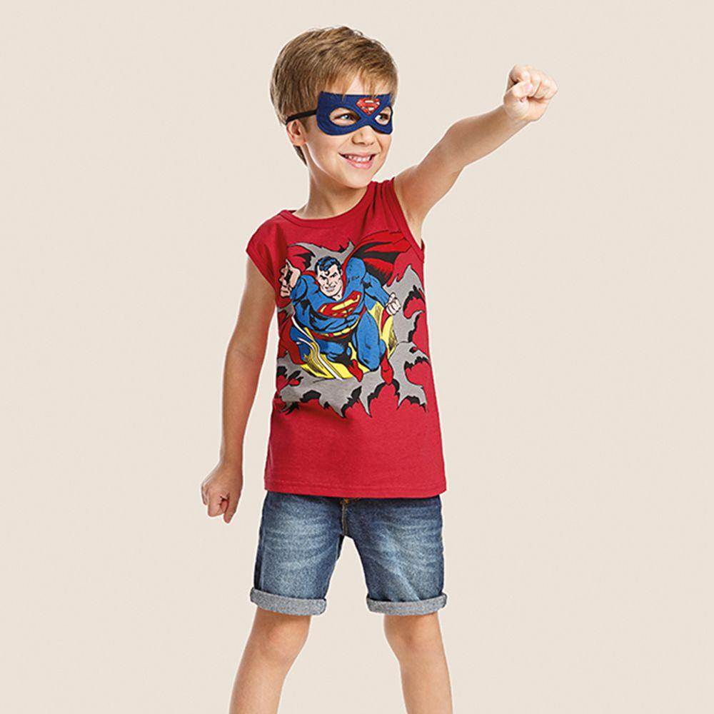 Camiseta Infantil Super Homem C/ Máscara