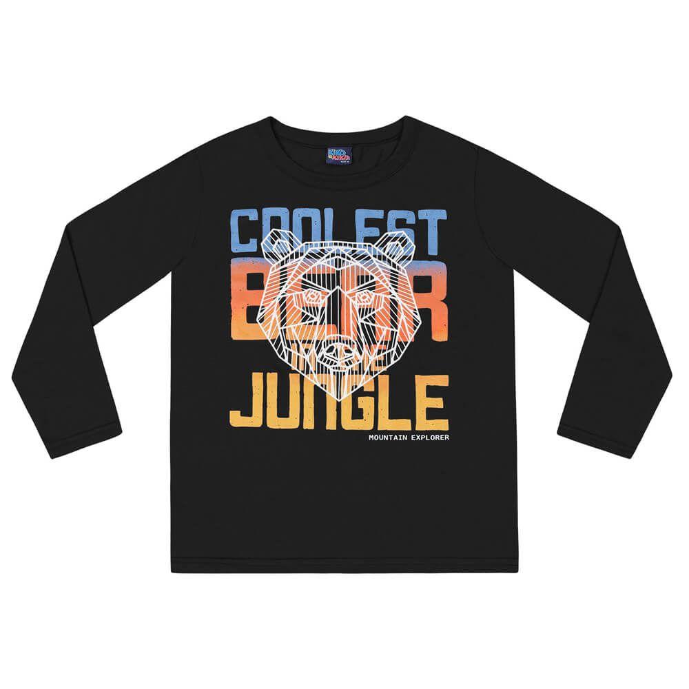 Camiseta Infanto Juvenil Menino Manga Longa Bear Preta