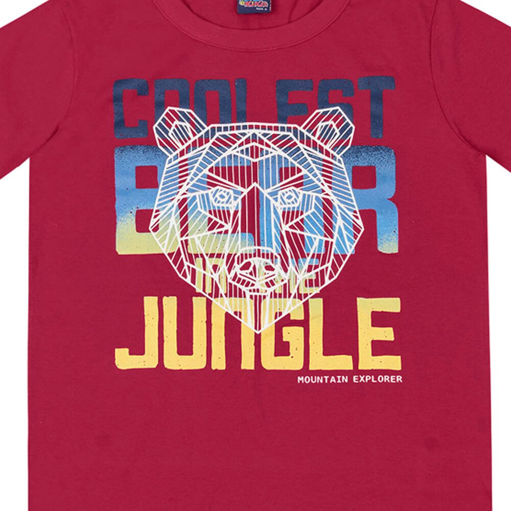 Camiseta Infanto Juvenil Menino Manga Longa Bear Vermelha