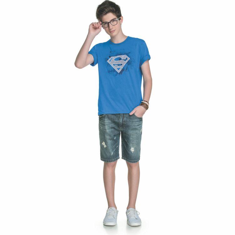 e06b70a51 Camiseta Infantil Liga da Justiça Super Homem Escudo
