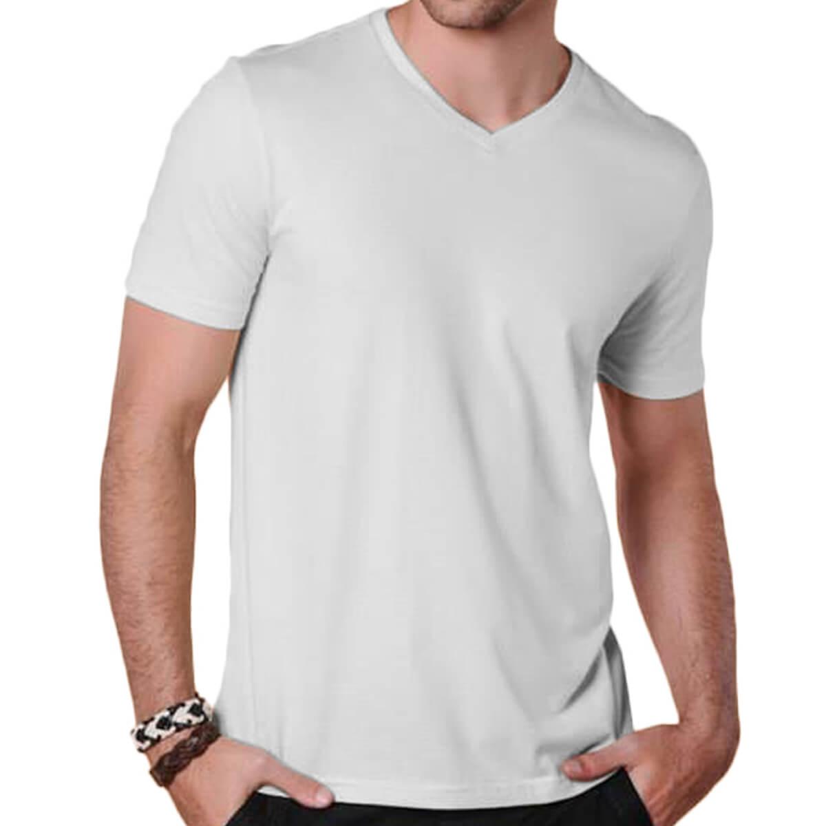 Camiseta Masculina Básica Comfort Gola V Branca