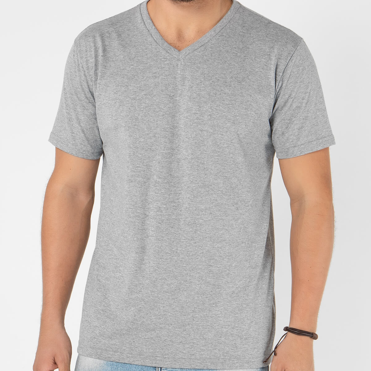 Camiseta Masculina Básica Comfort Gola V Cinza