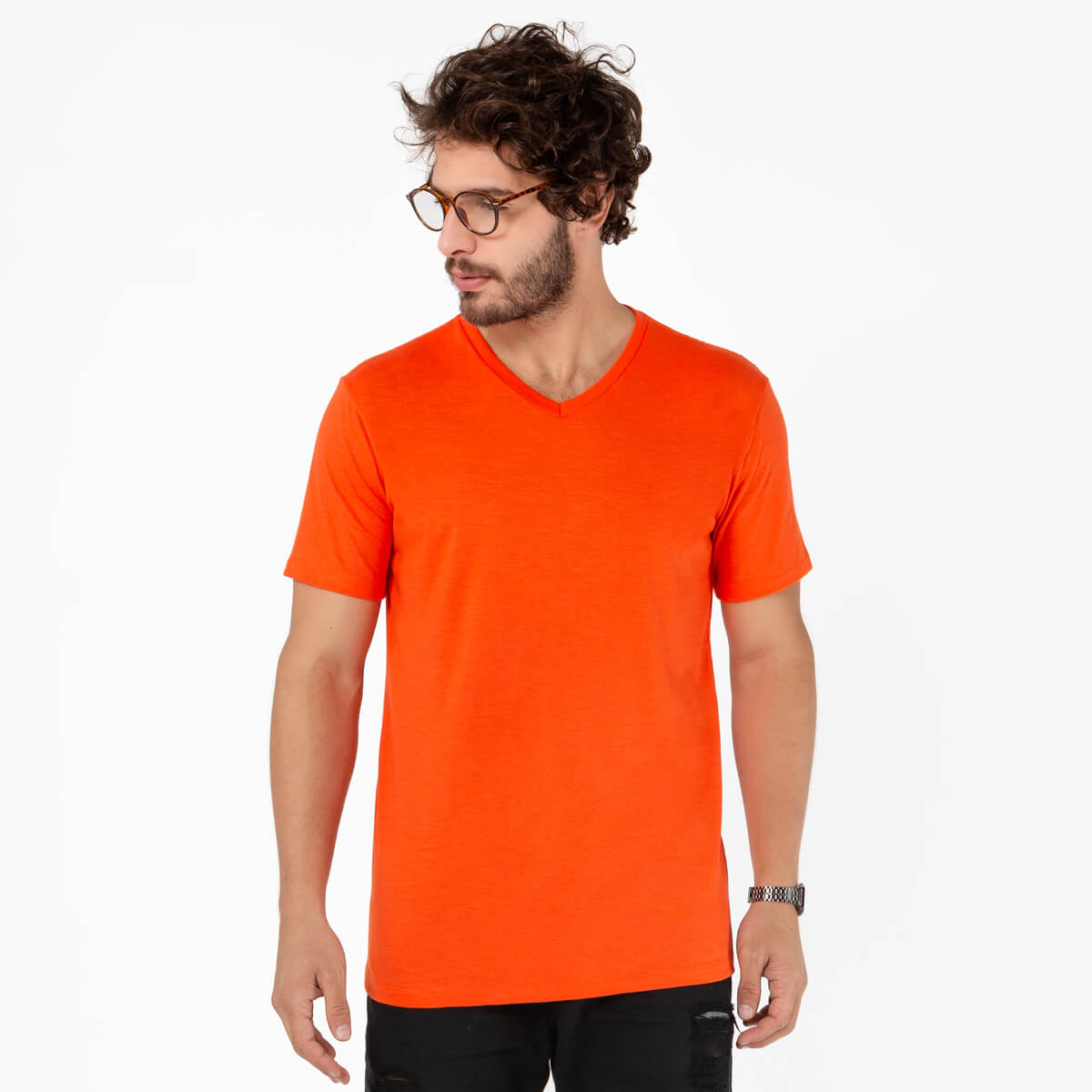Camiseta Masculina Básica Comfort Gola V Laranja