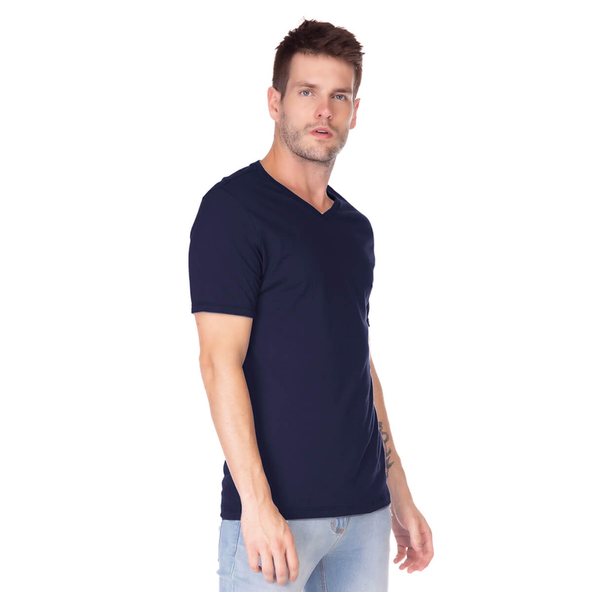 Camiseta Masculina Básica Comfort Gola V Marinho