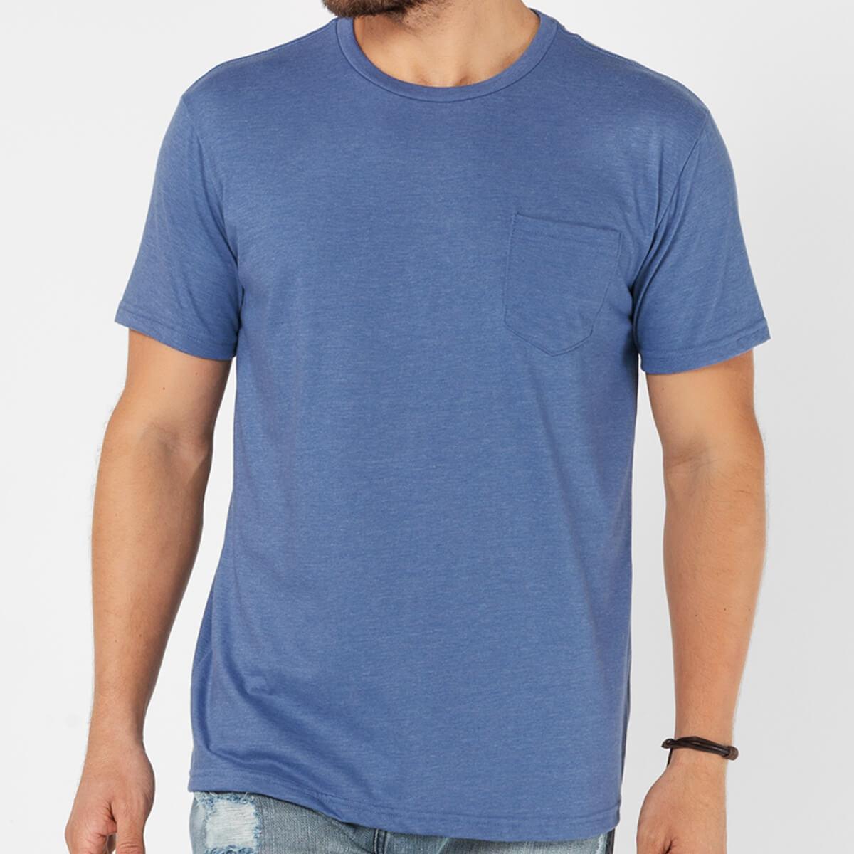 Camiseta Masculina Básica Estonada Premium Azul