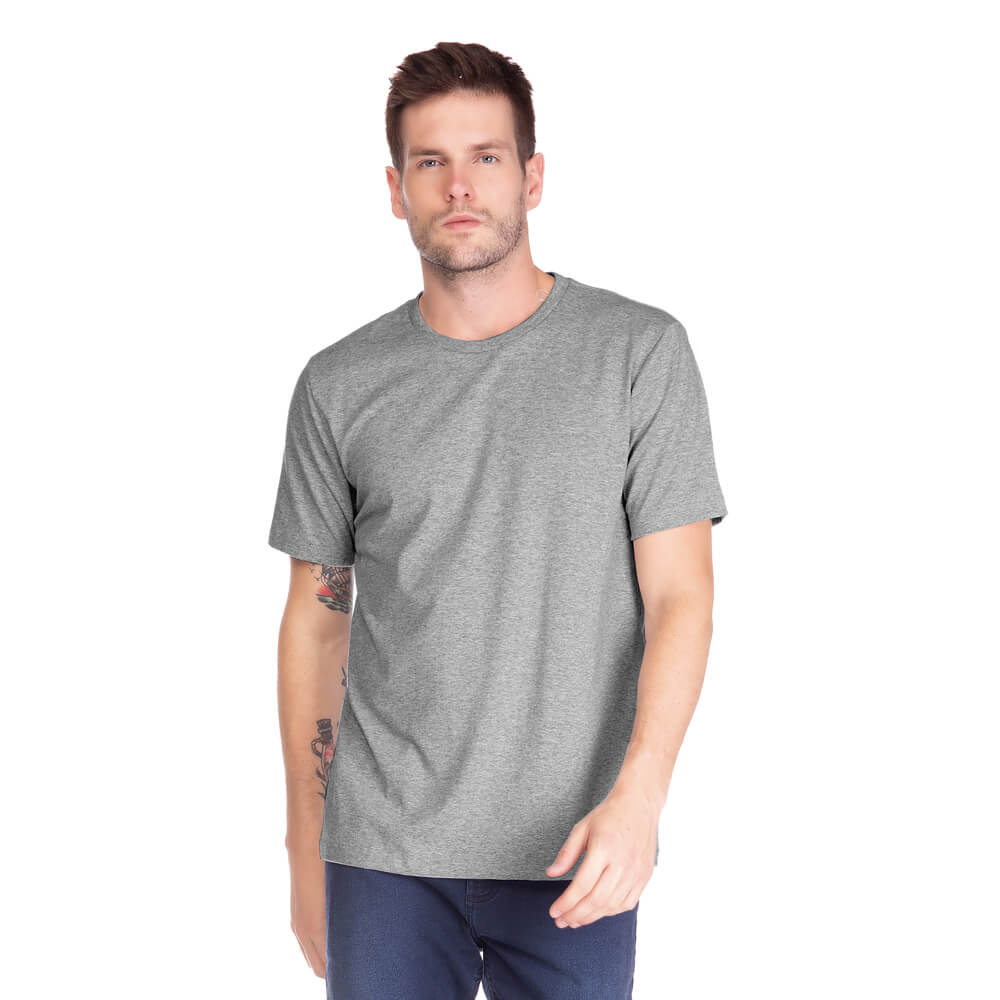 Camiseta Masculina Básica Gola Careca Cinza