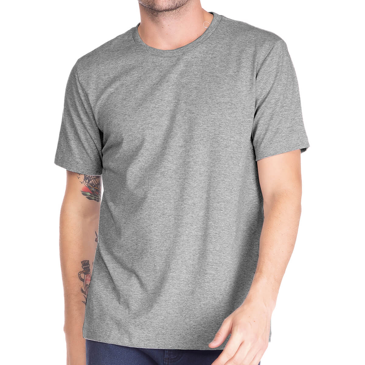 Camiseta Masculina Básica Comfort Cinza