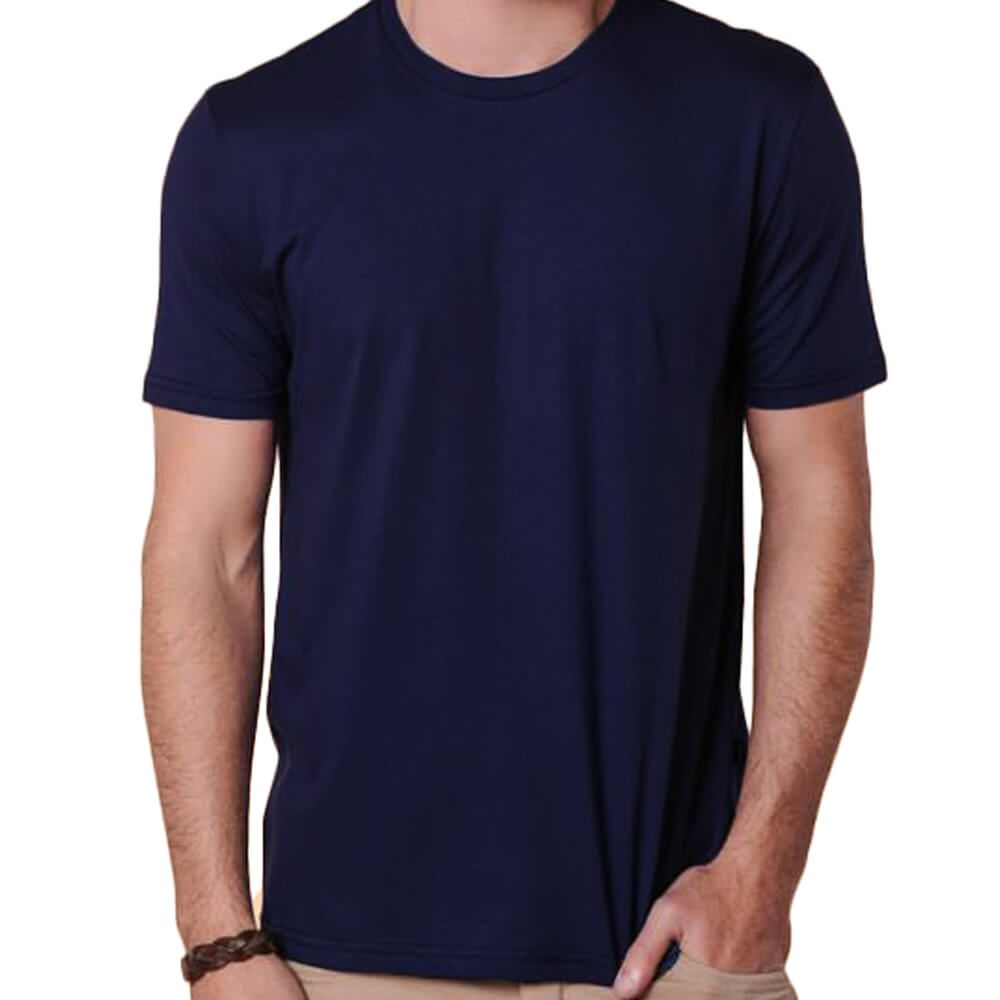 Camiseta Masculina Básica Gola Careca Marinho
