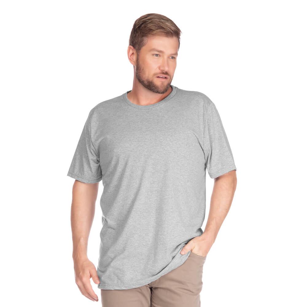 Camiseta Masculina Básica Gola Careca Plus Cinza