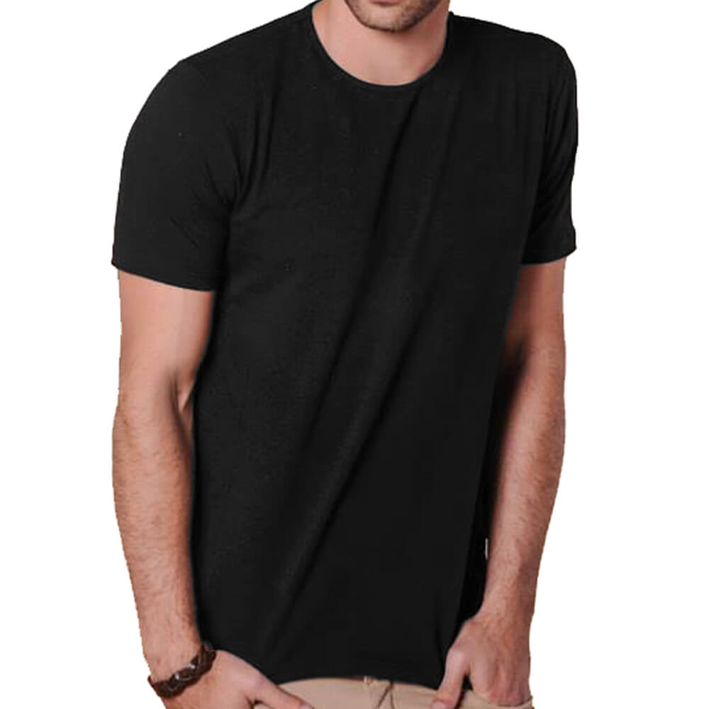 Camiseta Masculina Básica Gola Careca Preta