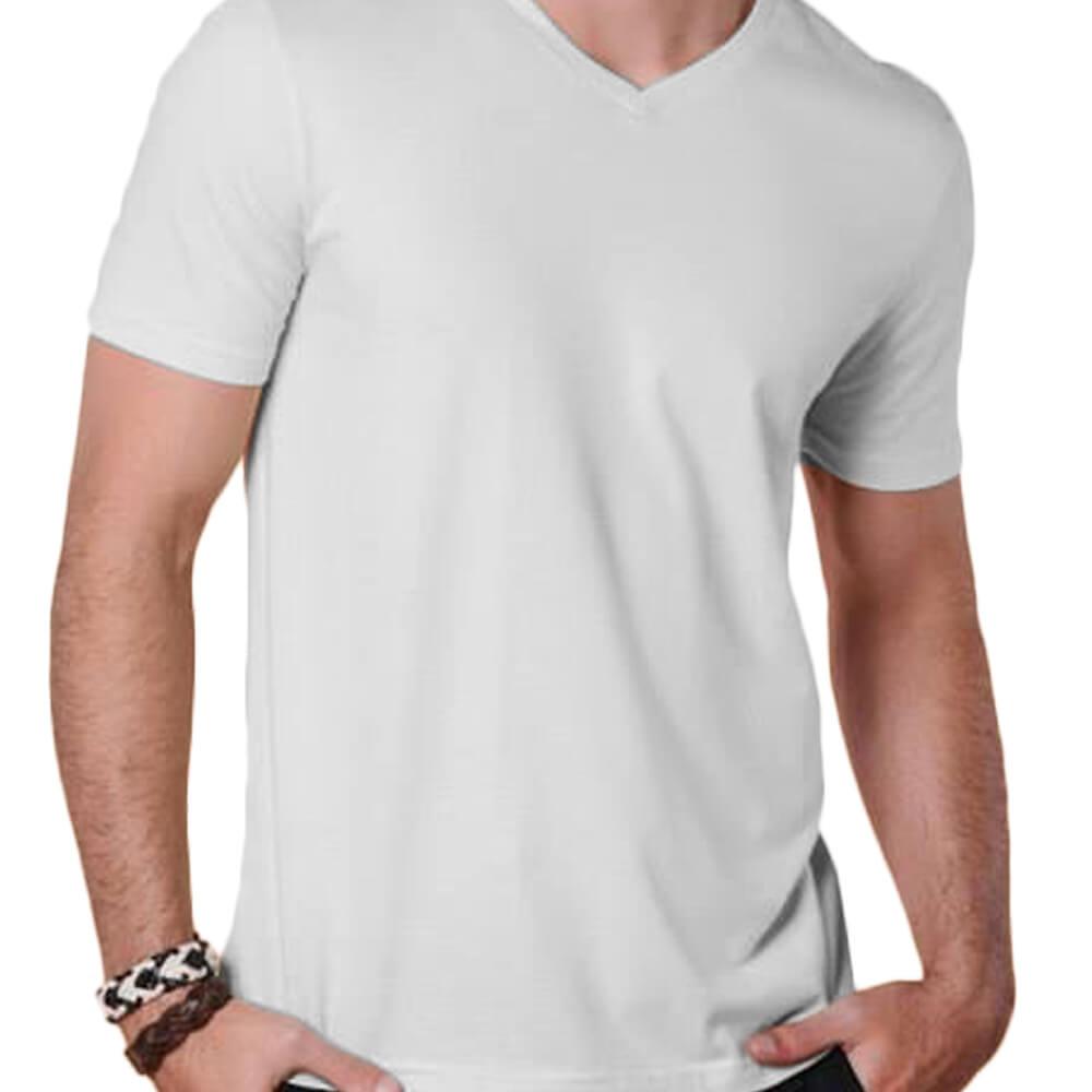 Camiseta Masculina Básica Gola V Branca