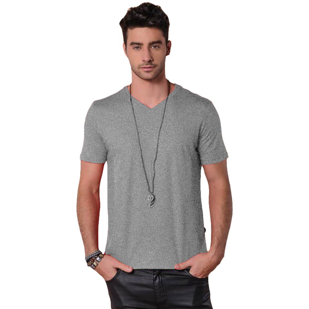 Camiseta Masculina Básica Gola V Cinza