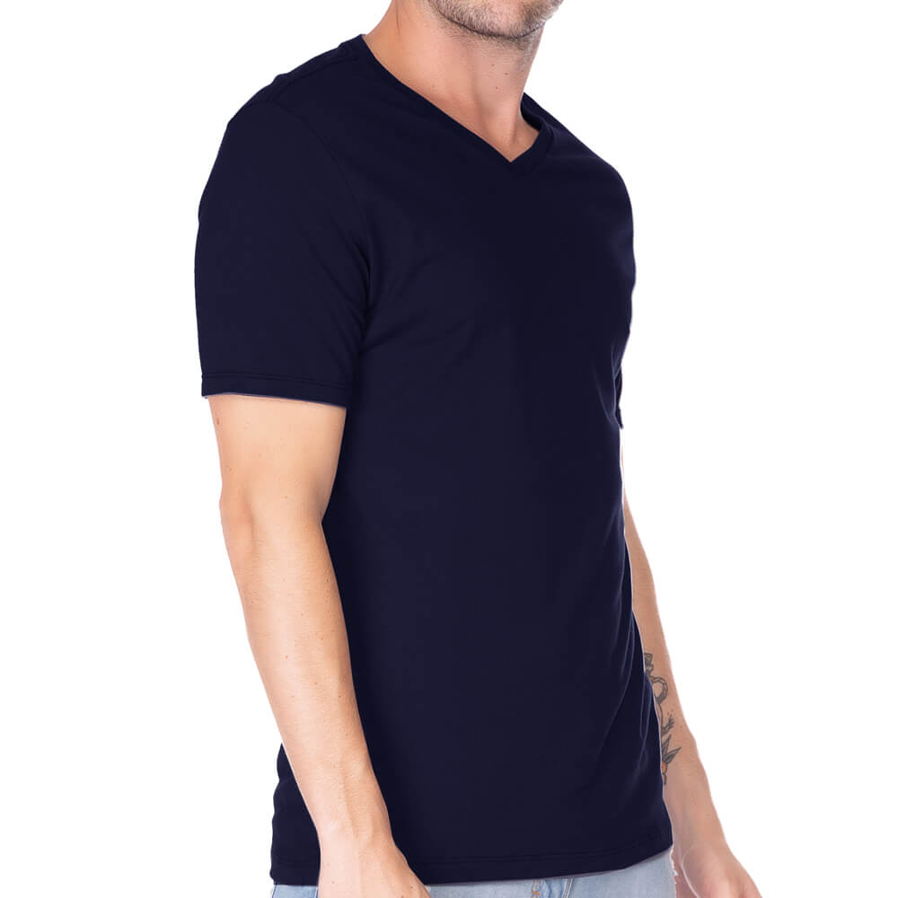 Camiseta Masculina Básica Gola V Marinho