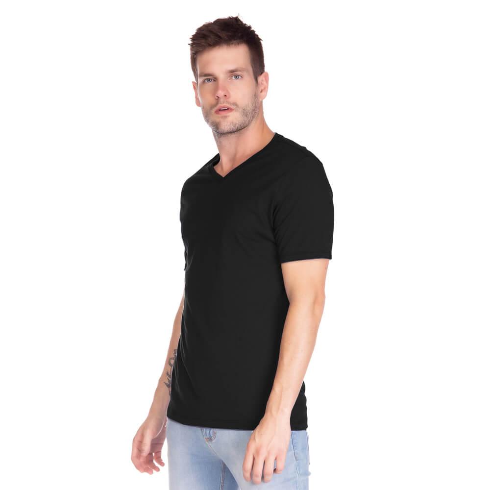 Camiseta Masculina Básica Gola V Preta