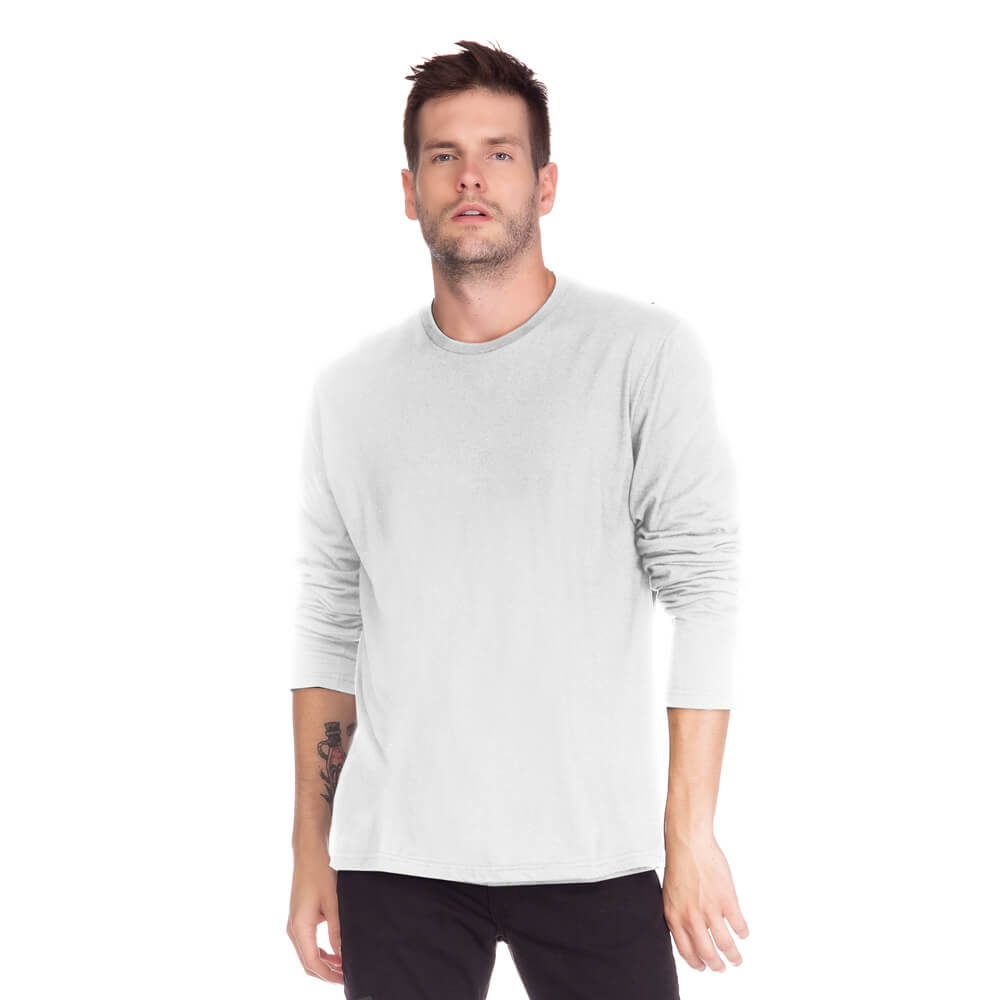 Camiseta Masculina Básica Manga Longa Comfort Branca