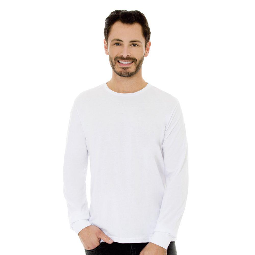 Camiseta Masculina Básica Manga Longa Branca