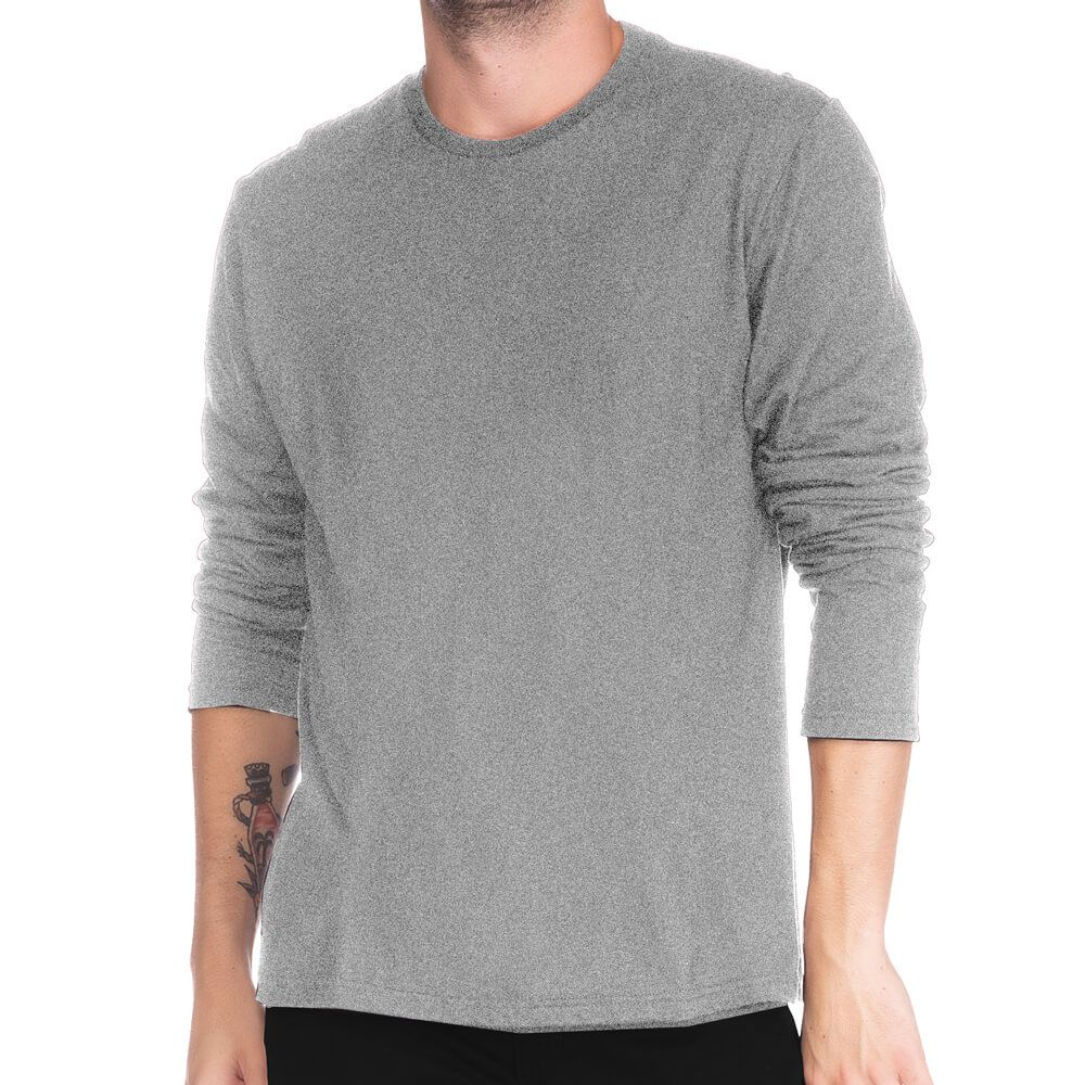 Camiseta Masculina Básica Manga Longa Comfort Cinza